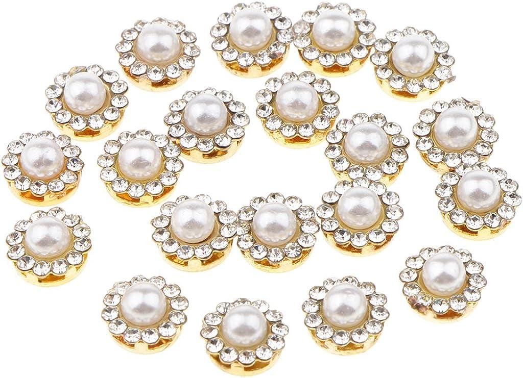 Fenteer 20 Bottoni Di Flatback Del Fiore Della Perla Del Faux Del Fiore Di 20 Pezzi Per Il Vestito Da Cerimonia Nuziale Del Mestiere