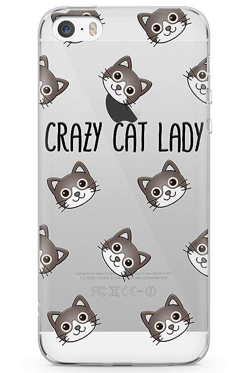 Case Warehouse iPhone 5 / 5s / SE Señora Loca del Gato Funda de Teléfono de