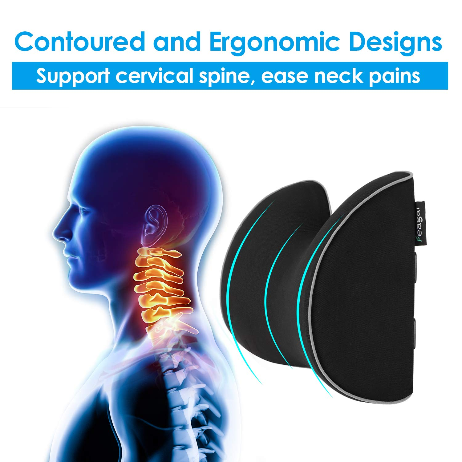 Feagar Car Seat Neck Pillow, Memory Foam Headrest Cushion for Driver Head, Cervical Support - Ergonomic, with 2 Adjustable Straps and Washable Cover- Driving Neck Pain Relief (Black Car Neck Pillow) by Feagar (Image #3)