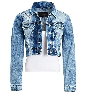 3d5b8203e5c SS7 Womens Acid Blue Denim Distressed Jacket, Size 6 8 10 12 14: Amazon.co. uk: Clothing
