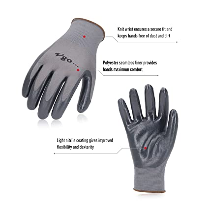 Vgo 15 Paires Gants de Travail et de Jardinage Vgo Glove en PU pour Hommes Taille,M,Couleur Noire,PU2103 10//XL, Jaune Multifonctions