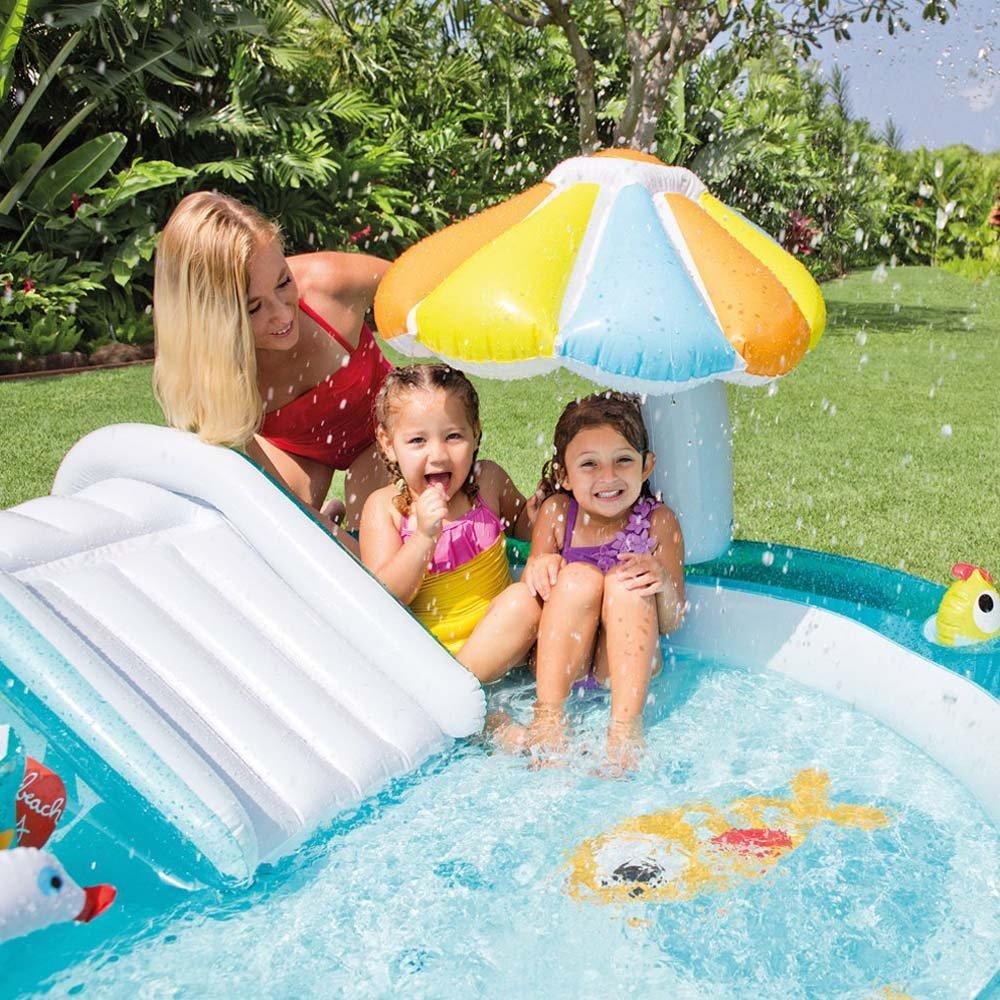 Iden Juego cocodrilo – Niño piscina con tobogán, parasol y ducha ...