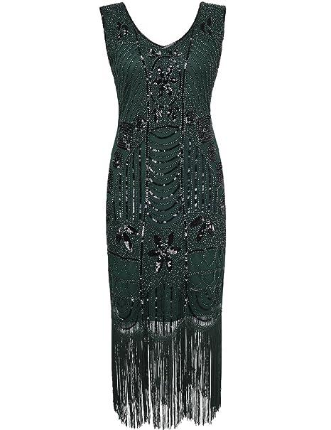 PrettyGuide Mujeres a?os 20 Gatsby Lentejuela con Flecos Arte Deco Vestido Coctel Flapper S