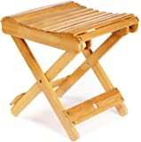 "ETECHMART 12"" Folding Bamboo Step Stool for Shower, Leg Shaving and Foot Rest, Fully Assembled Wooden Spa Bath Chair for…"