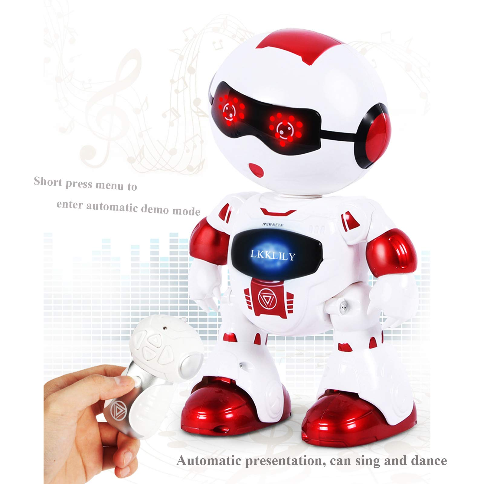 LKKLILY Remote Control Robot with Touch Interaction Music Dance and Lights Remote Toy for Children Kids and Kids Gifts (Red) by LKKLILY (Image #5)