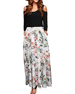 63593f54546 STYLEWORD Women s Summer Cold Shoulder Floral Print Elegant Maxi Long Dress  with Pocket