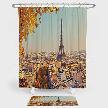 Amazon.com: iPrint Eiffel Tower Shower Curtain And Floor Mat ...
