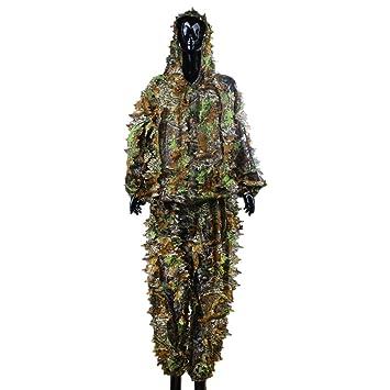 OuYou 3D Hojas Ghillie Suit Bosque Camo Camuflaje Ropa Selva Traje de Caza Escondida Disfrazado Práctico: Amazon.es: Deportes y aire libre