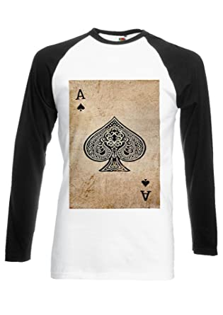 f38f342830b Game Card Ace Vintage Retro Black/White Men Women Unisex Long Sleeve  Baseball T Shirt