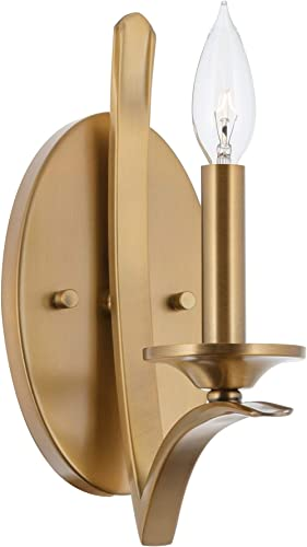 Kira Home Albany 11 1-Light Contemporary Wall Sconce Wall Light, Open Candle Design, Warm Brass Finish