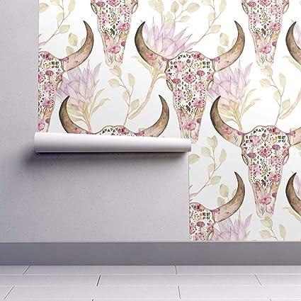 Santa Fe Floral Skull Wallpaper Roll Boho Desert