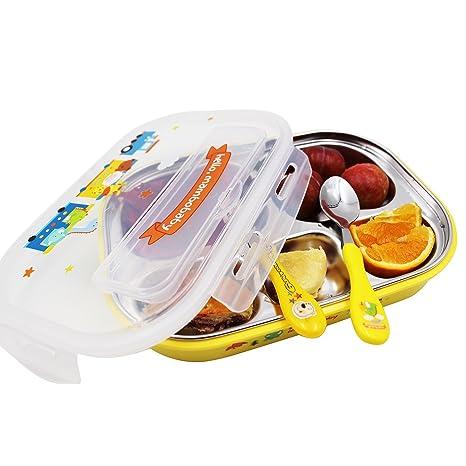 Vine Fiambreras Conjunto para Niños con Cuchara Tenedor y Bolsas Térmicas 5 Compartimentos, Amarillo