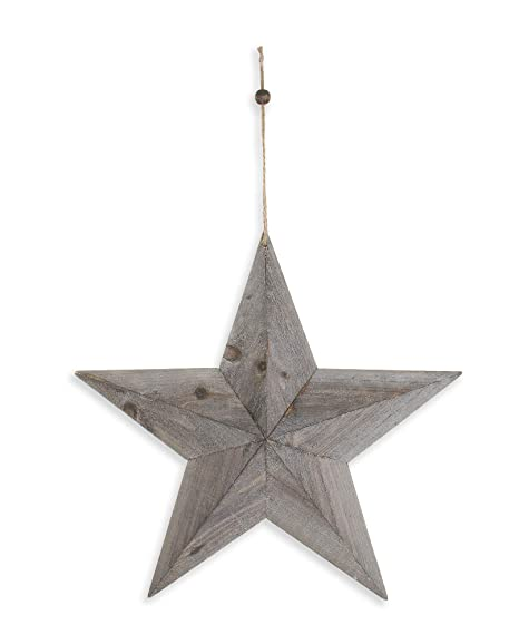 Eclectic House Grey Rustic Wooden 3d Barn Star Wall Hanging Decoration Large 49cm