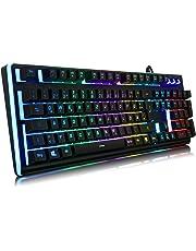 IVSO YockTec Semi Mechanische Gaming Tastatur [QWERTZ] [19 Tasten Anti-Ghosting] [RGB LED Maßgeschneiderte Beleuchtung Effekte] [Wasserdicht] USB Wired Gaming Tastatur für PC Mac Windows Gamers