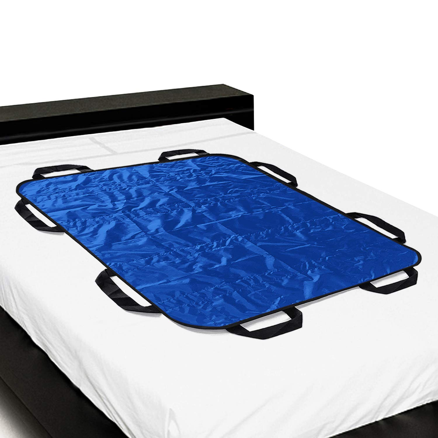 """Multipurpose 48"""" x 40"""" Positioning Bed Pad with Reinforced Handles by ZHEEYI - Reusable & Washable Patient Sheet for Turning, Lifting & Repositioning - Double-Sided Nylon Fabric, Blue by ZHEEYI (Image #1)"""