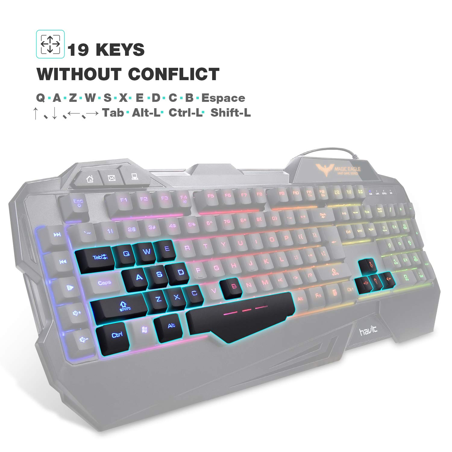 Havit Rainbow Backlit Wired Gaming Keyboard Mouse Combo Light Switch Wiring Game Black Computers Accessories