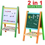 Jacootoys Standing Art Easel Two-Sided Whiteboard Chalkboard with Magnetic Alphabet and Numbers for Toddlers
