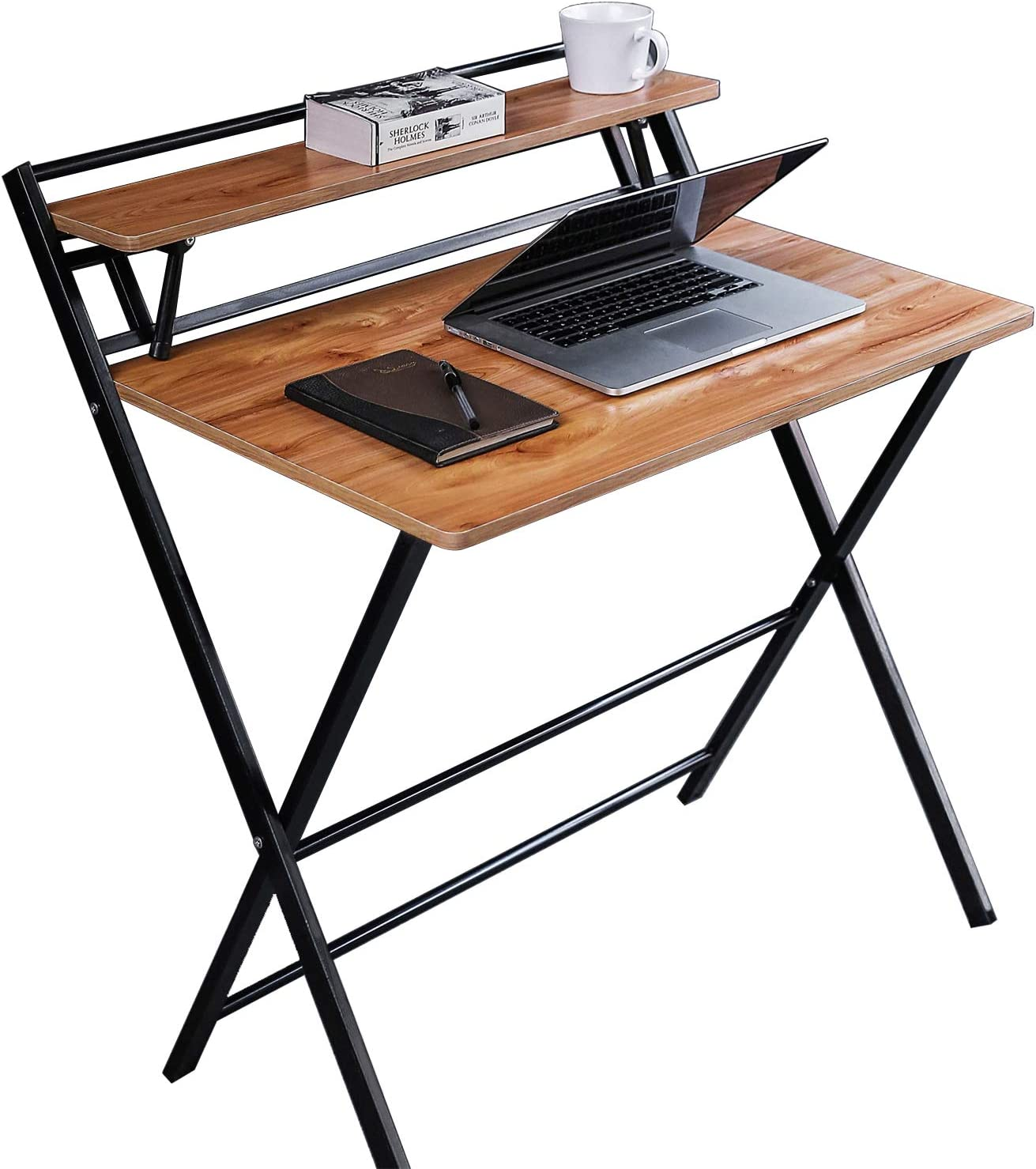 JIWU 49-Style Folding Desk for Small Space, Home Corner Desks Simple  Computer Desk with Shelf, Folding Laptop Table