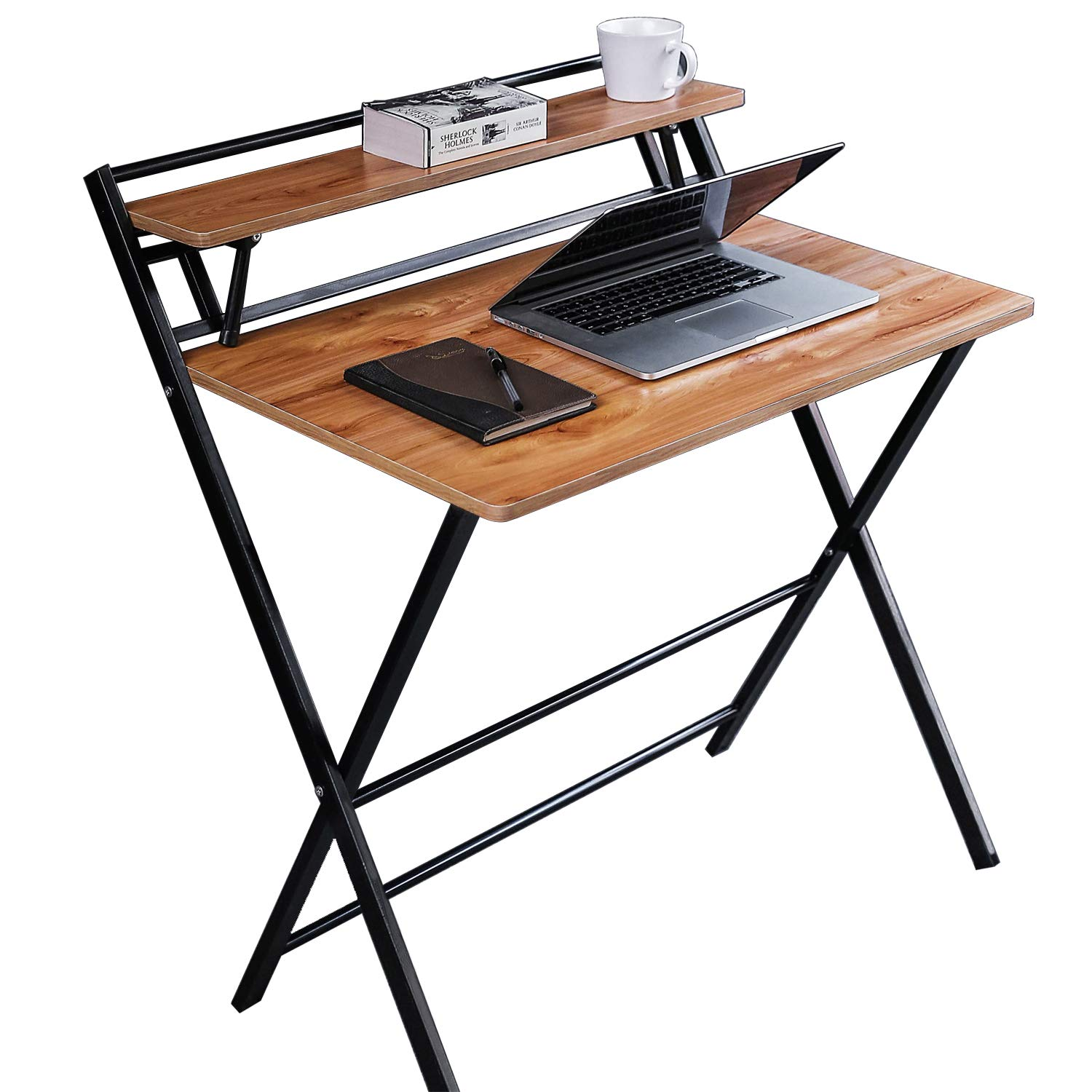 JIWU 2-Style Folding Desk for Small Space, Home Corner Desks Simple Computer Desk with Shelf, Folding Laptop Table by JIWU