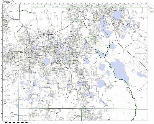 Polk County Florida Map Amazon.com: Polk County, Florida FL ZIP Code Map Not Laminated