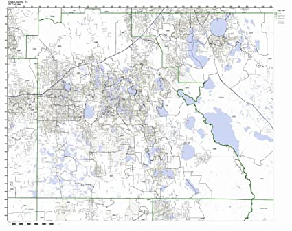 Amazon Com Polk County Florida Fl Zip Code Map Not Laminated Home