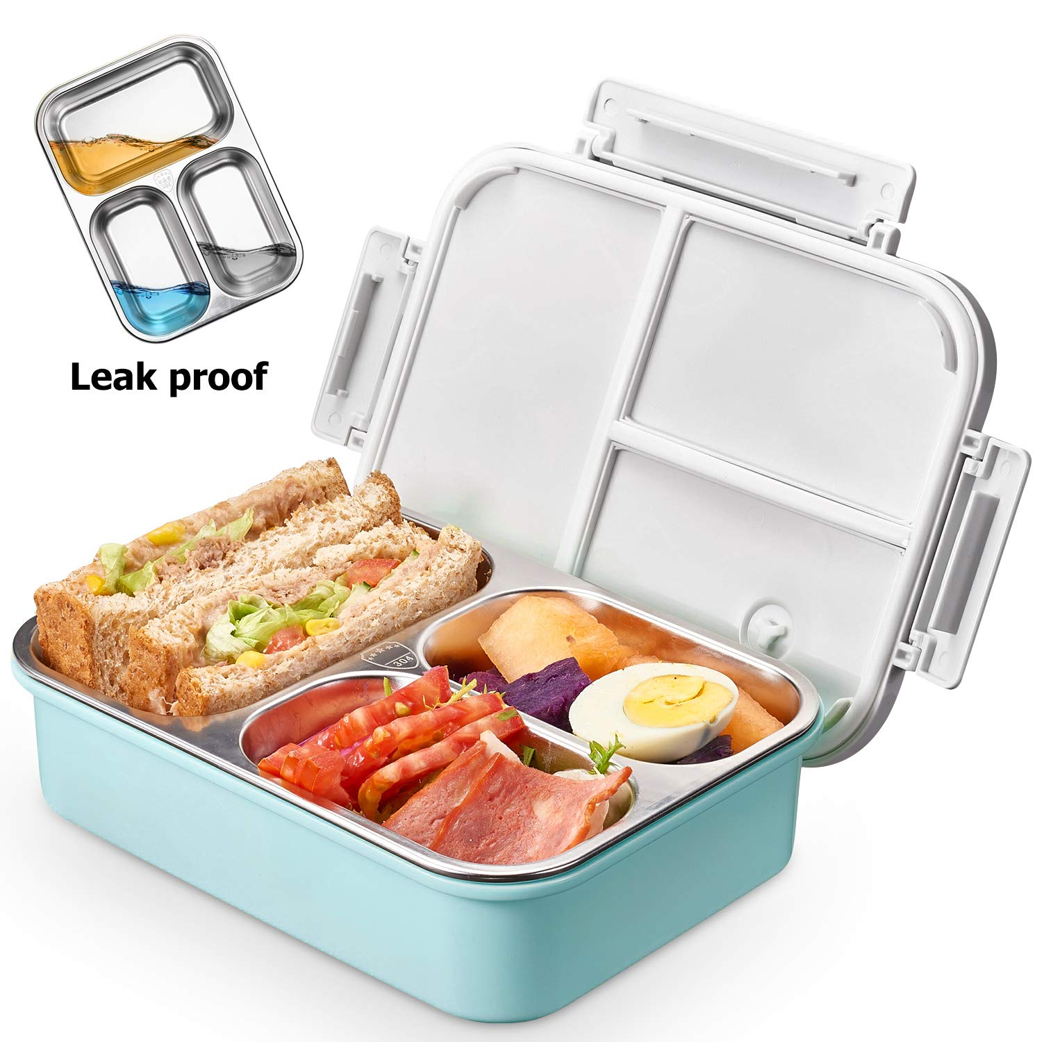 Kids Stainless Steel Lunch box - 2019 Upgraded Leak Proof 3-Compartment bento-Style Food containers-Ideal Portion Sizes for Ages 4 to 15 - BPA-Free and Food-Safe Materials by Derminpro