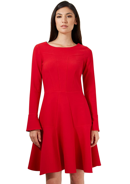 Closet Red Long Bell Sleeve Panel Full Dress