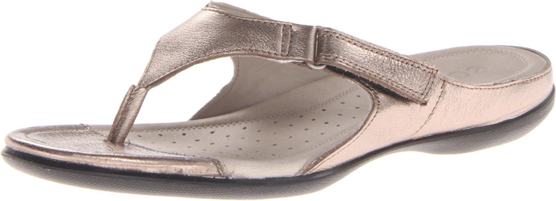 ECCO Women's Flash Thong Dress Sandal,Warm Grey Metallic,39 EU/8-8.5 M US