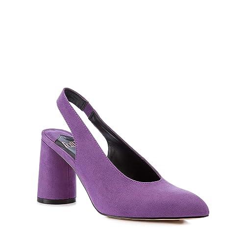 7f66d4ca18 Debenhams Faith Womens Purple Suedette 'Craig' Slingback Mid Block Heels 3