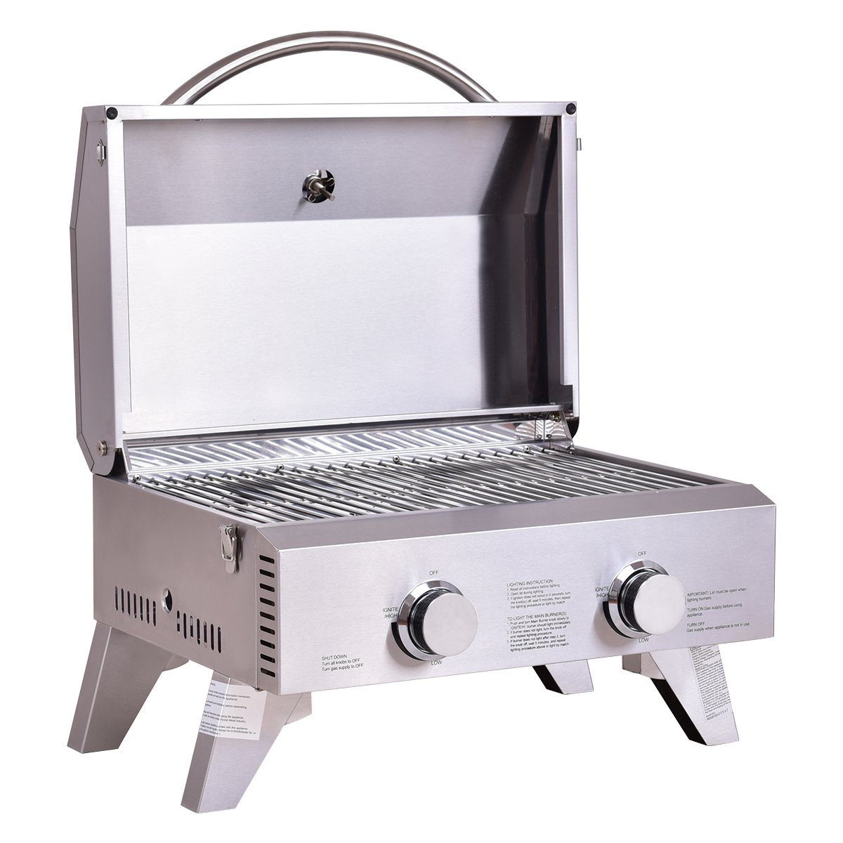 Giantex Propane Gas Grill 2 Burner Stainless Steel BBQ TableTop Perfect For Camping, Picnics or any Outdoor Use by Giantex