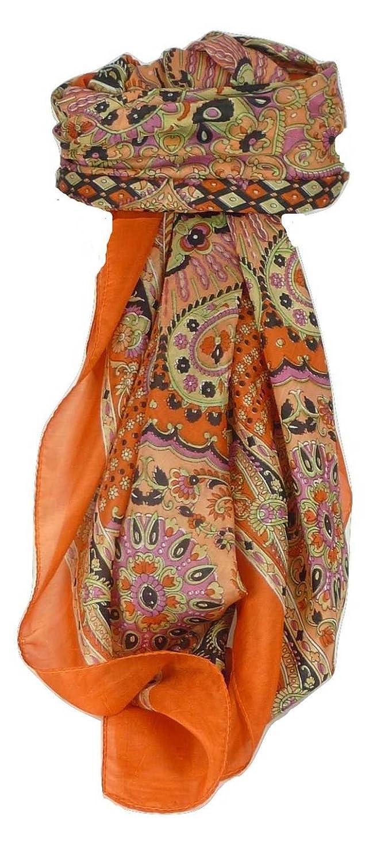 Classic Range Paisley Square Scarf 100% Mulberry Silk Narine Design Marigold from Pashmina & Silk