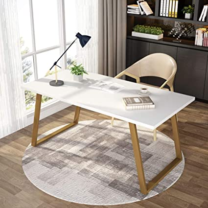 Tribesigns 55u0027u0027 White Writing Desk, Minimalist Computer Desk With Slanted  Gold Metal Frame