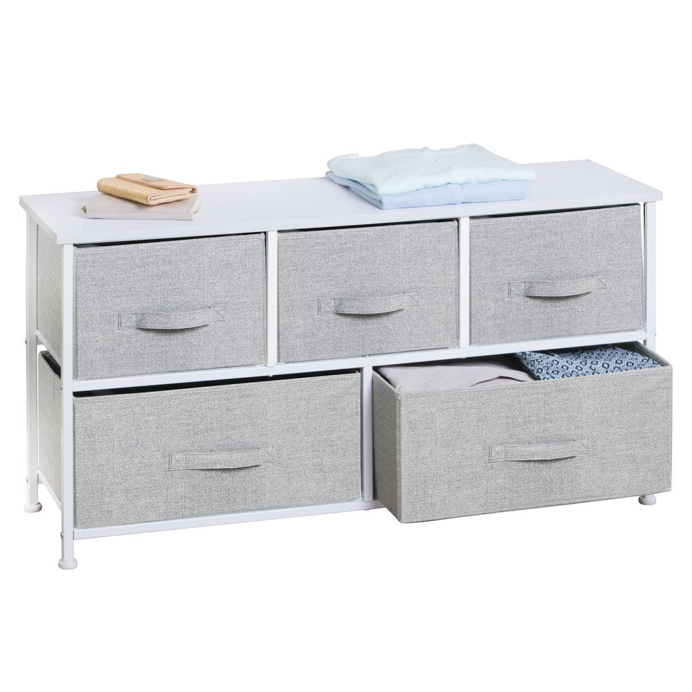 InterDesign Aldo Fabric 5-Drawer Dresser and Storage Organizer Unit for Bedroom, Apartment, Small Living Spaces – Gray by InterDesign (Image #5)