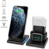 Ieiehd Wireless Charger, 3 in 1 Wireless Charging Station for iWatch, AirPods Pro/2, Detachable and Magnetic Wireless Charging Stand for iPhone 11 Pro Max/X/XS/XR/8Plus(NO QC 3.0 Adapter)
