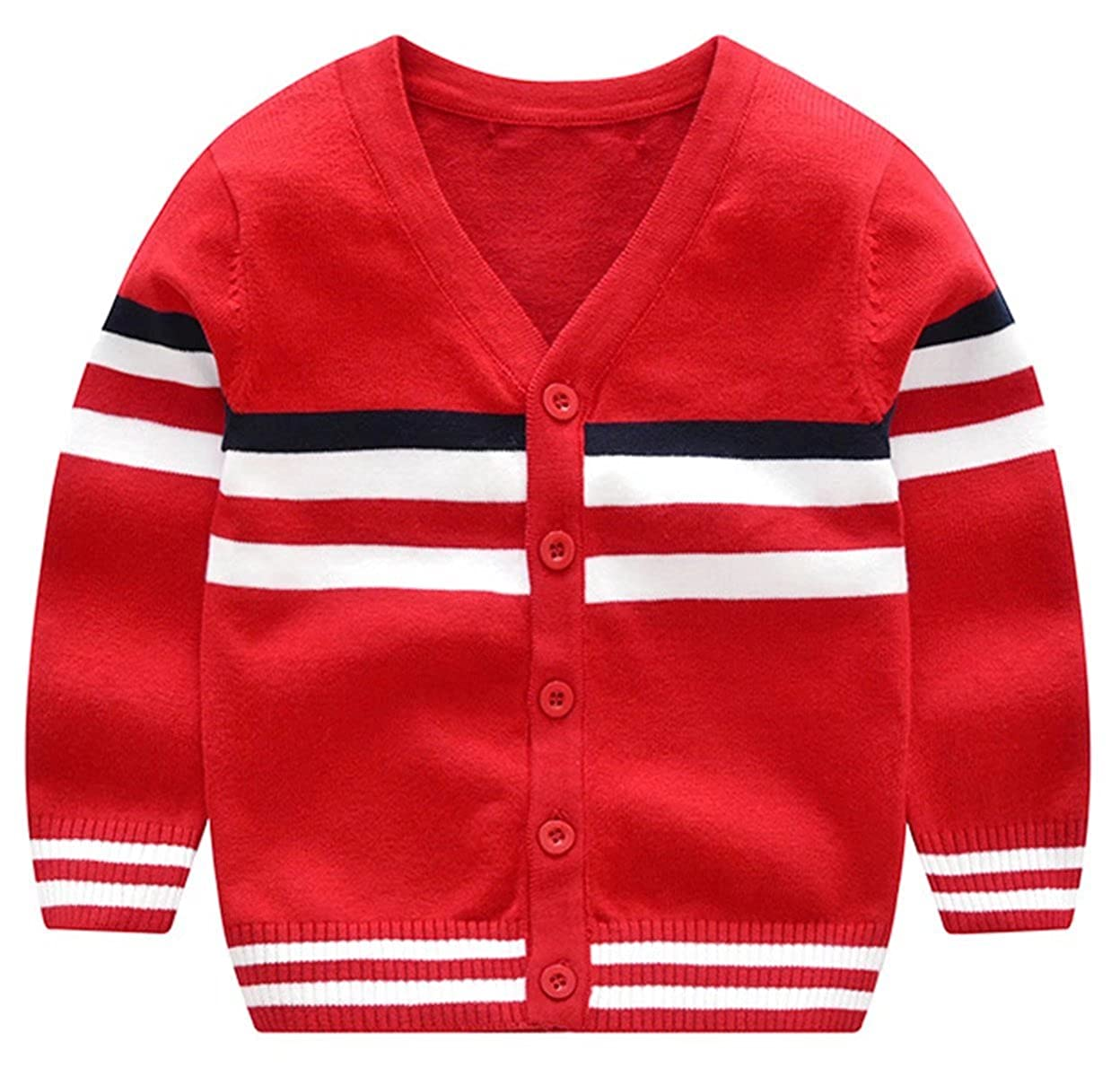 Ameyda Boys Striped V-Neck Button Cardigan