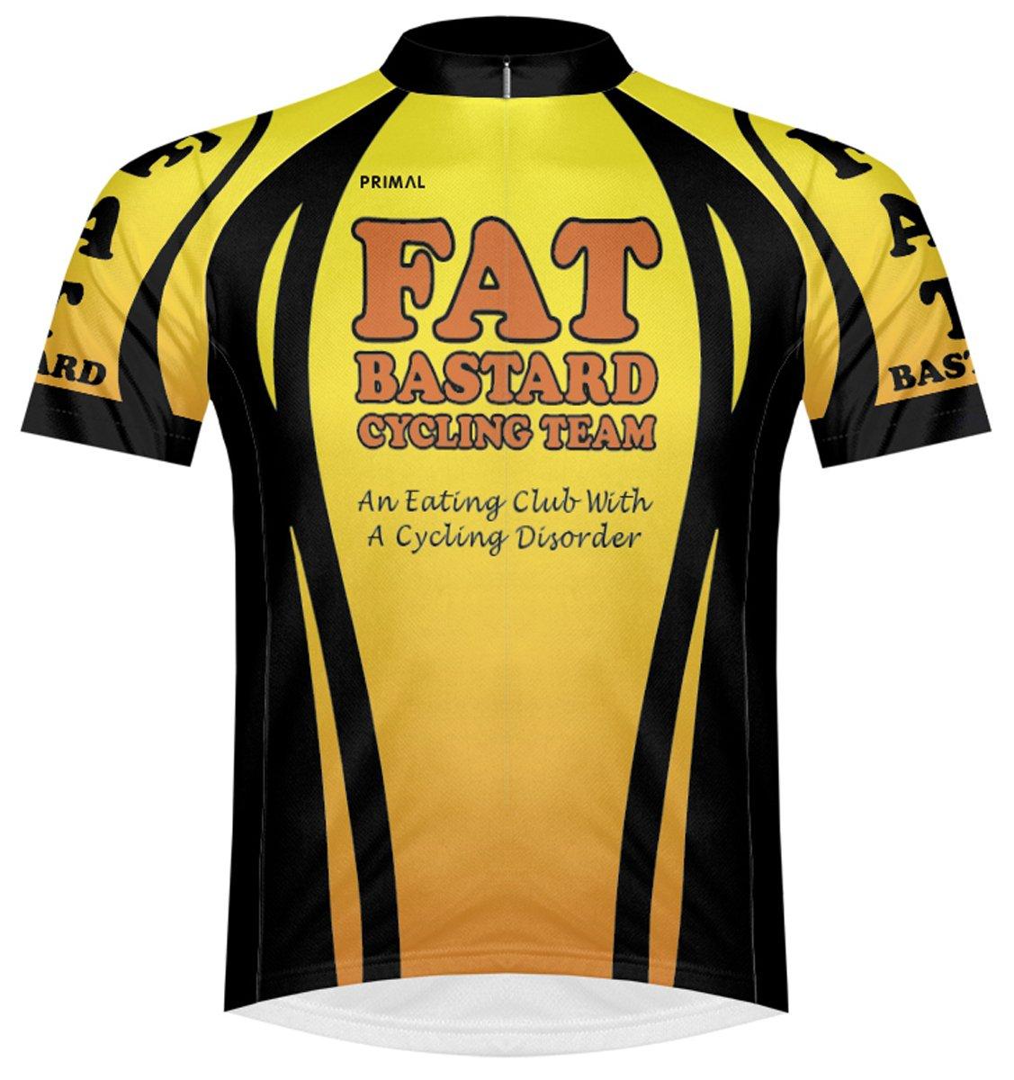 Primal Wear Fat BastardサイクリングチームイエローオレンジブラックCycling Jerseyメンズ半袖 B019HFPHK6 Medium
