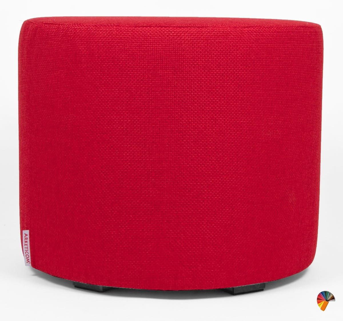 Arketicom CYLINDER Upholstered Footstool Ottoman Pouffe Chair Modern Stool round Pouf Italian Handmade Pink 35x35 cm