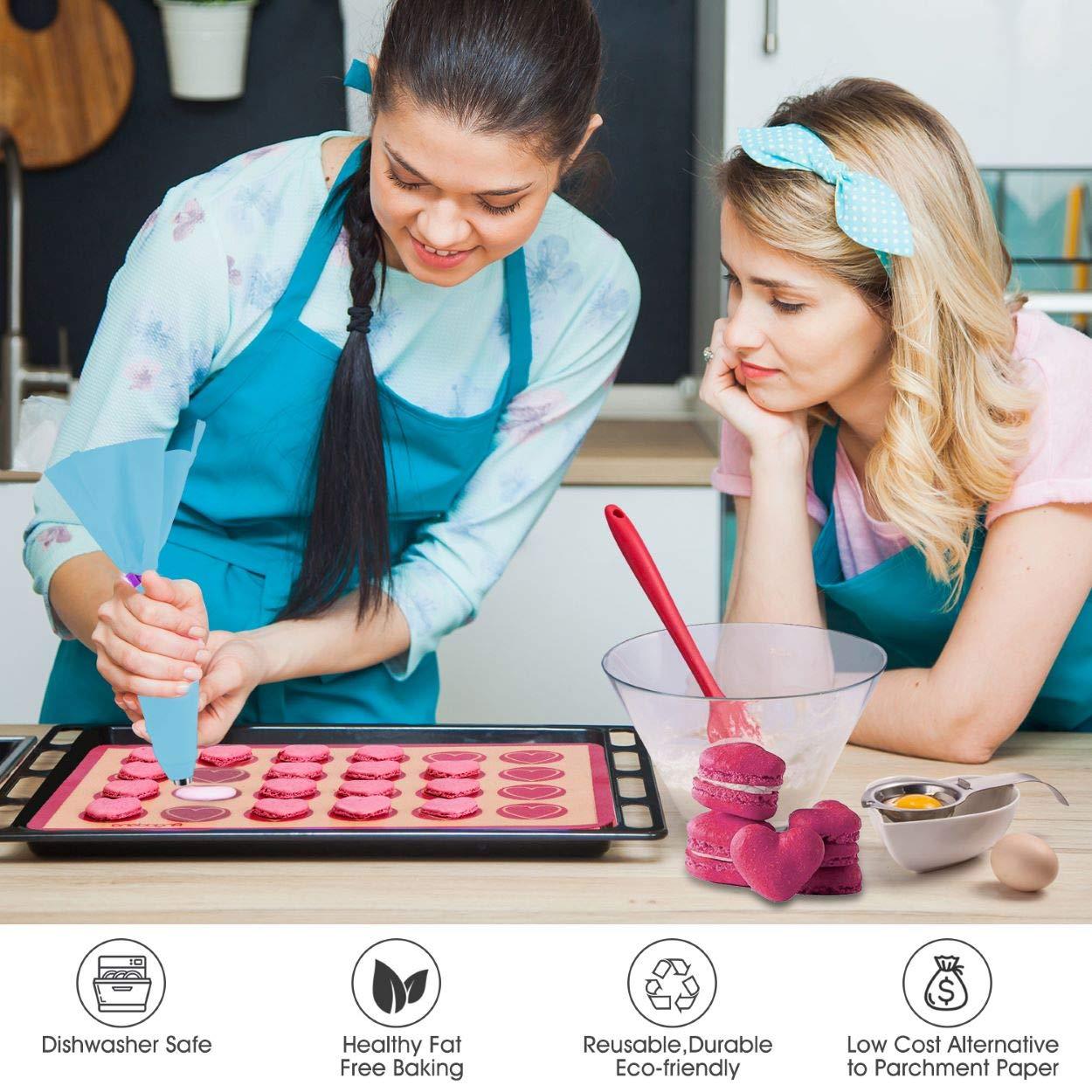 Silicone Baking Mat Macaron Mat Kit(14pcs set) Macaroon Baking Mat Set of 2 Half Sheet Macaron Silicone Mat Nonstick Macaron Mat Sheet,6 Piping Tip,2 Piping Bag with 2 Bag Tie,1 coupler (11.6''x16.5'') by Angadona (Image #6)