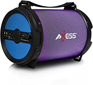 AXESS SPBL1046 Portable Bluetooth 2.1 LED Lit Hi-Fi Cylinder Loud Speaker with Built-In 6