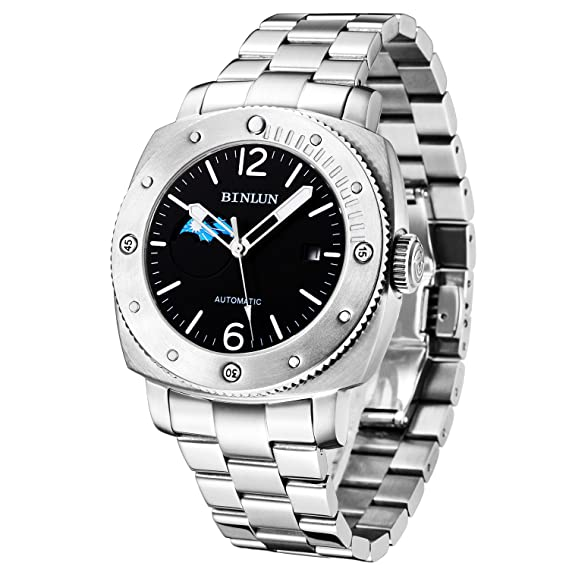 binlun - Reloj automático de hombre impermeable Fecha Display con día noche sub-Dial: Amazon.es: Relojes