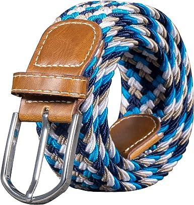 Men Women Unisex Canvas Weaving Trim Braided Belt Metal Pin Buckle