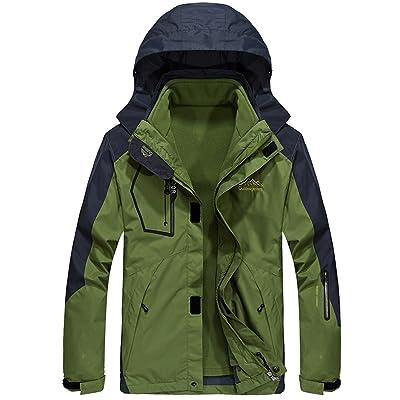 Menschwear Men's 3 In 1 Hooded Jacket Raincoat 2 Pcs Coat Waterproof Softshell With Removable Fleece Liner
