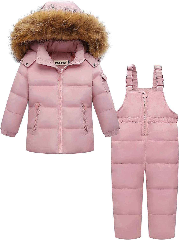 Zoerea Kinder Bekleidungsset Junge M/ädchen S/ü/ß Schneeanzug mit Kaputze Daunenjacke Daunenhose 2tlg Verdickte Skianzug Winterjacke
