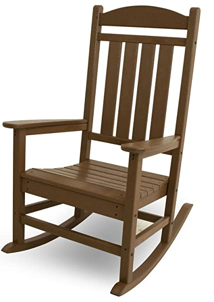 POLYWOOD R100TE Presidential Outdoor Rocking Chair, Teak