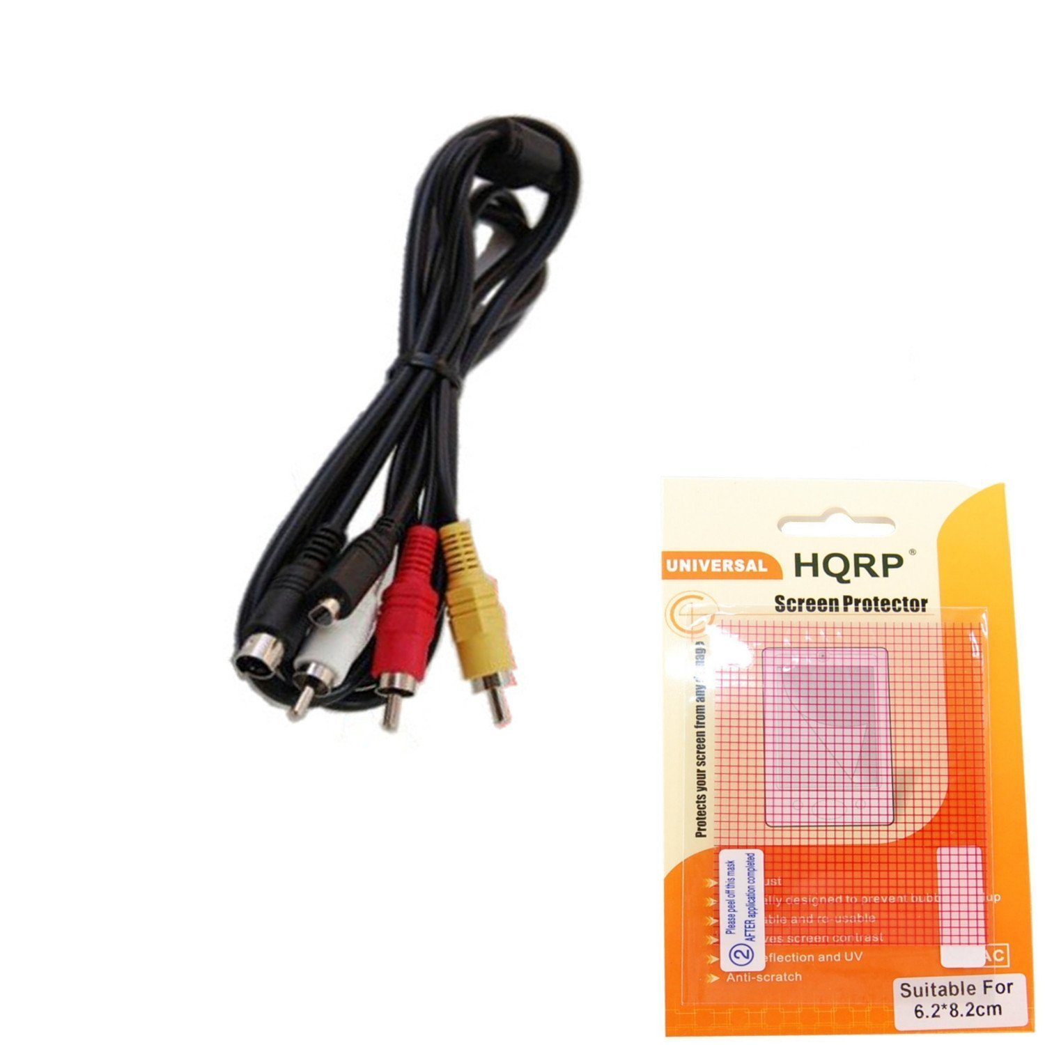 HQRP AV Audio Video Cable / Cord for SONY Handycam DCR-SX40, DCR-SX41, DCR-SX43, DCR-SX44 Camcorder + HQRP LCD Screen Protector