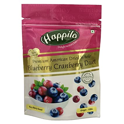 Happilo Premium Dried Whole Blueberry Cranberry Duet, 200g (Pack of 5)