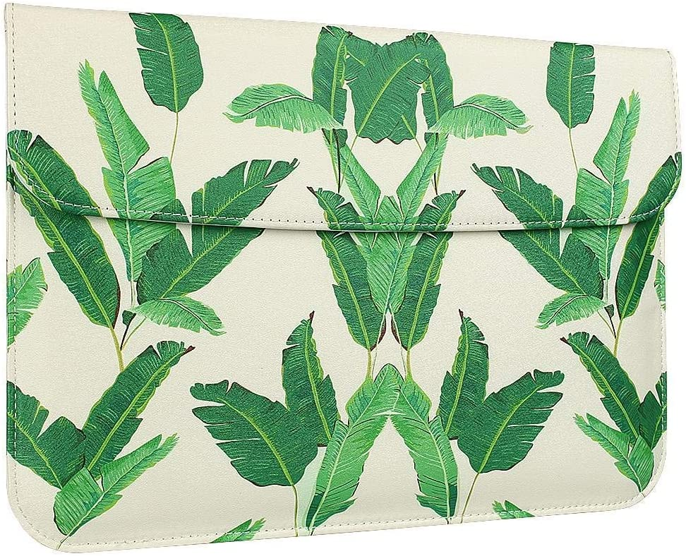 GOLINK Leather Laptop Sleeve Bag for 15 inch MacBook Pro, A1398/A1707 Slim Carrying Bag, Banana Leaves