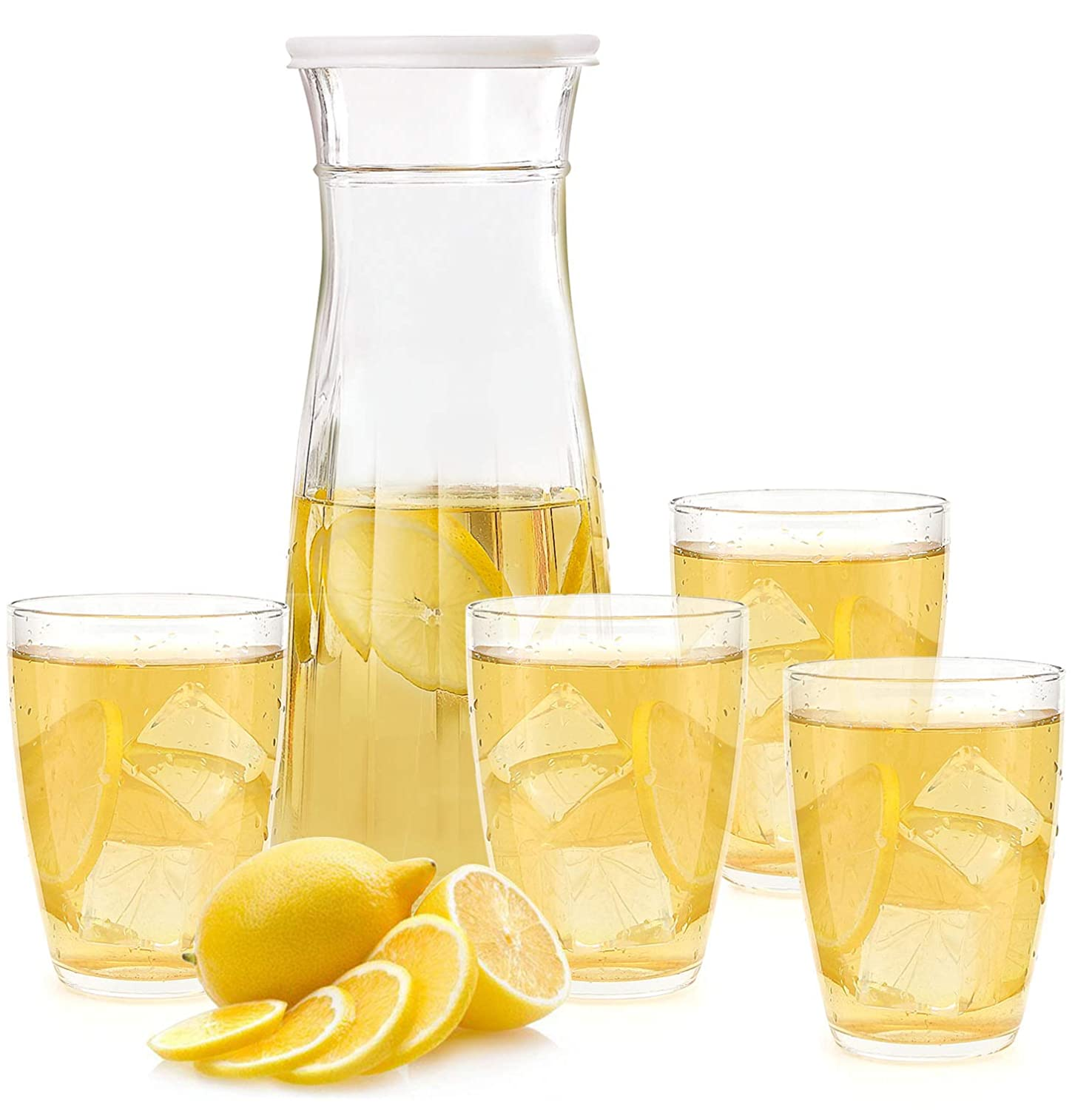 Glass Cup Set,Glass Pitcher Set,34 OZ Glass Water Pitcher and 8 OZ Drinking Glass Cup for Hot&Cold Water Ice Tea Juice Beer Beverage,Party Cups for Home Kitchen Daily Use( 1 Pitcher and 4 Cups)