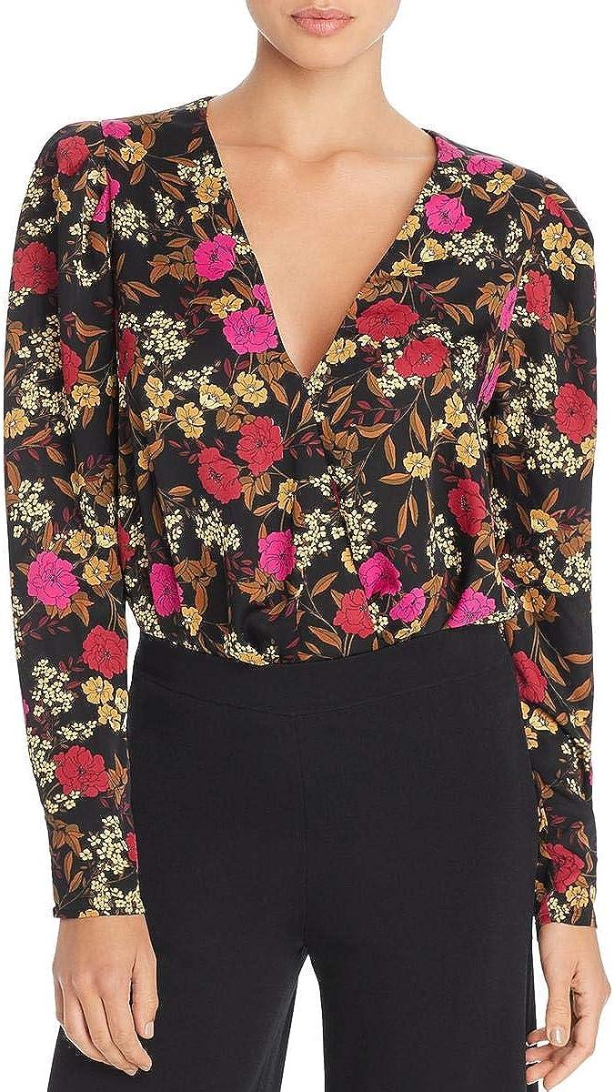 ASTR the label Womens Long Sleeve Wrap Front Blouse Bodysuit