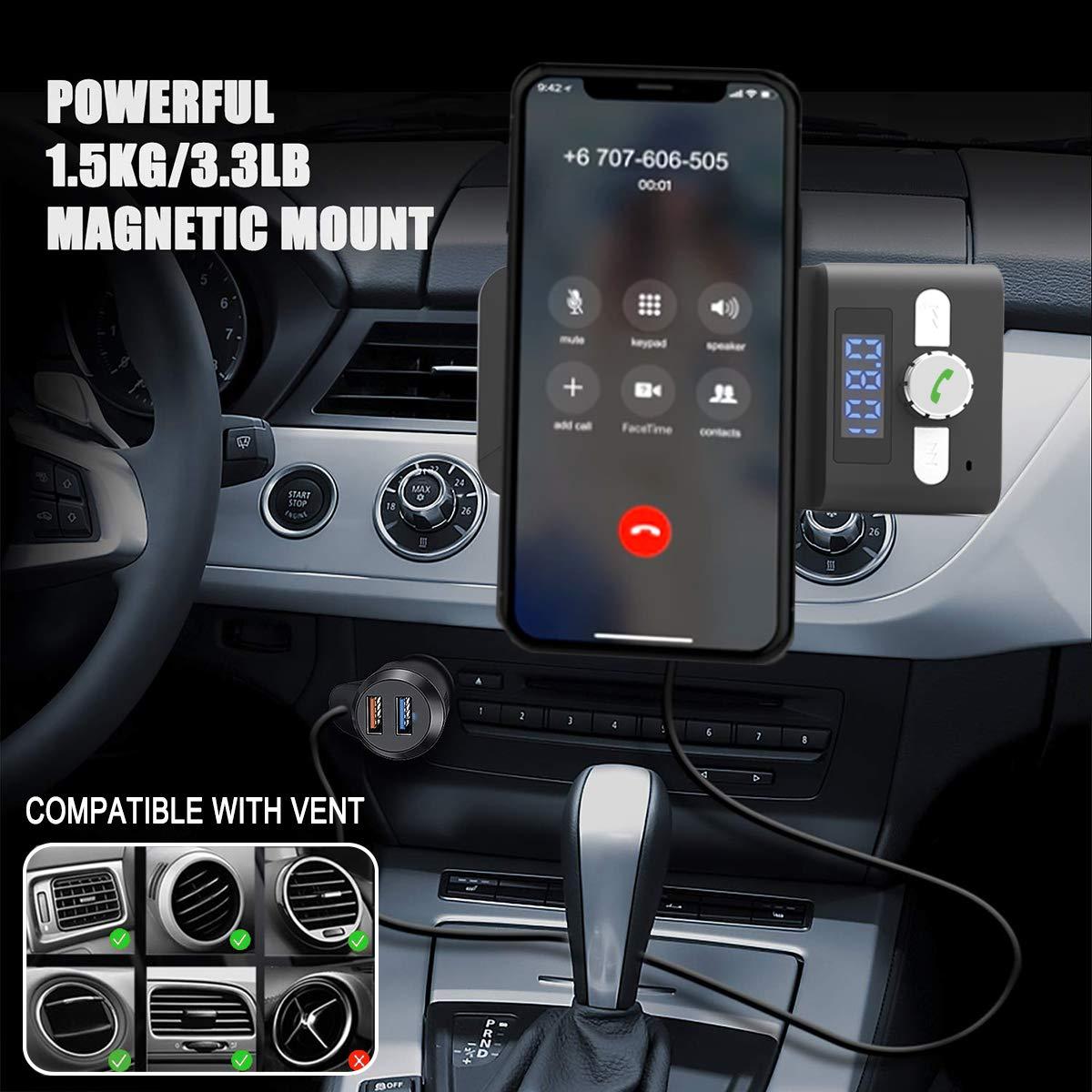 Transmisor FM Bluetooth Coche Huawei P30// M20 Pro y M/ás Soporte M/óvil Coche Magn/ético para iPhone XS//X//8//7//6 Plus Samsung Galaxy S10//S10+//S9//S8//S7